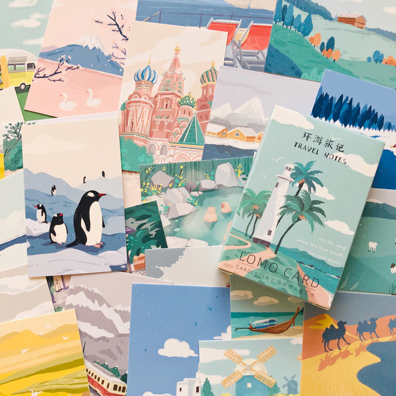 28pcs /Box Travel Notes Lomo Card DIY Postcard Post Greeting Card Picture Decor Message Cards