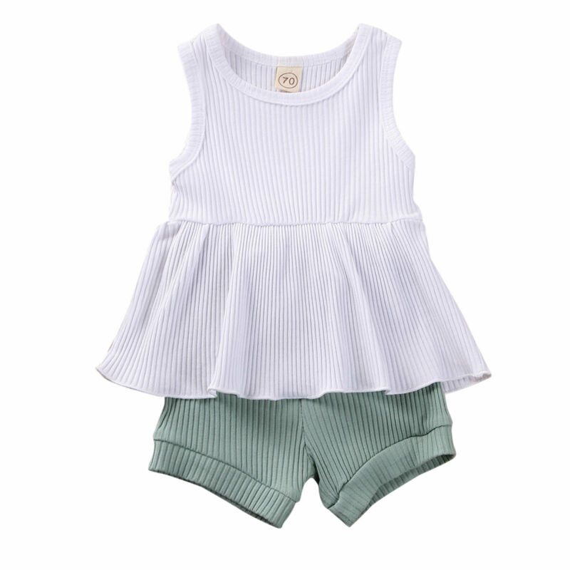 Pudcoco Infant Baby Girls Clothes Sleeveless Ruffles Vest Dress Tops+Shorts Pants Outfit Sundress Summer