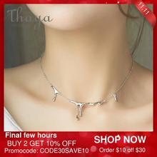 Thaya orijinal tasarım düşen yağmur yaralanma S925 ayar gümüş kolye basit gerdanlık kolye kadın mücevheratı hediye kadınlar için