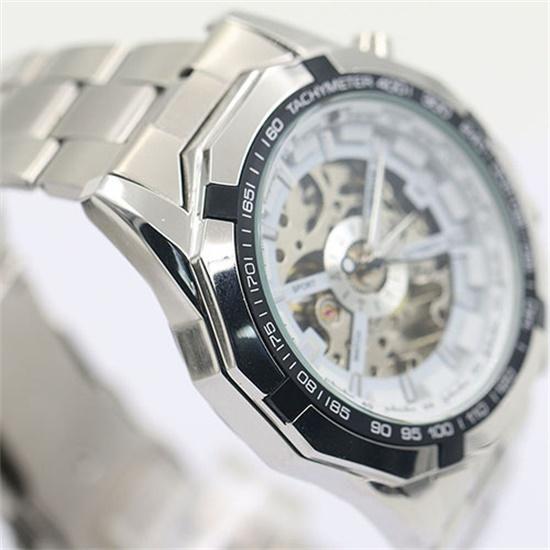 Fashion Brand Men Mechanical Watch Men Stainless Steel Skeleton Hand Wind WristwatchRelogio Hombre