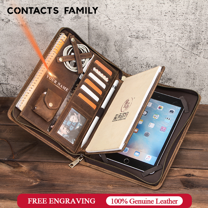 Nubuck Leather Folder Padfolio Business Portfolio Holder Case For iPad Mini 5 1 2 3 4 7.9 inch Organizer Zippered Tablet Pouch