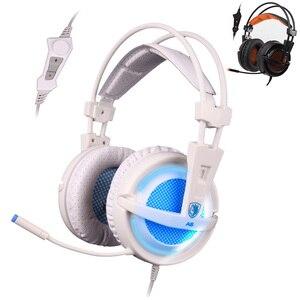 Casque de jeu virtuel 7.1 stéréo Surround USB casque avec oreille moufle LED SADES A6 filaire casque