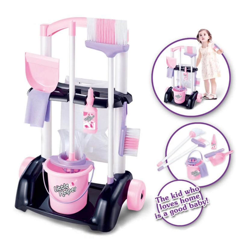 Free Shipping House Cleaning Trolley Set Kids Pretend Play Toy Little Helper Cleaning Cart Play Set Child Cleaning Supplies Toy