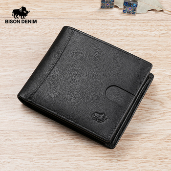 BISON DENIM Genuine Leather Men Wallet Fashion Cowhide Coin Pocket Card Holder Bifold Purse High Quality Short Wallets N4502