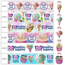 10 yards New BASKIN ROBBINS Thirty-one Ice Cream 30pcs/lot Acrylic Resins Pattern Planar