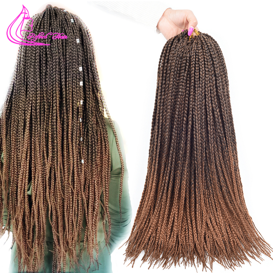 Refined 14 18 22Inches Crotchet Box Braids Hair Extensions Ombre Brown Burgundy Crochet Braids Synthetic Low Temperature Fiber
