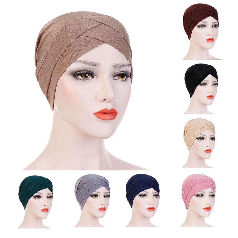 Women Stretchy Hat Turban Cross Head Wrap Chemo Bandana Muslim Scarf Plain Hijabs Caps Ethnic Black Blue Hats Headwear Fashion