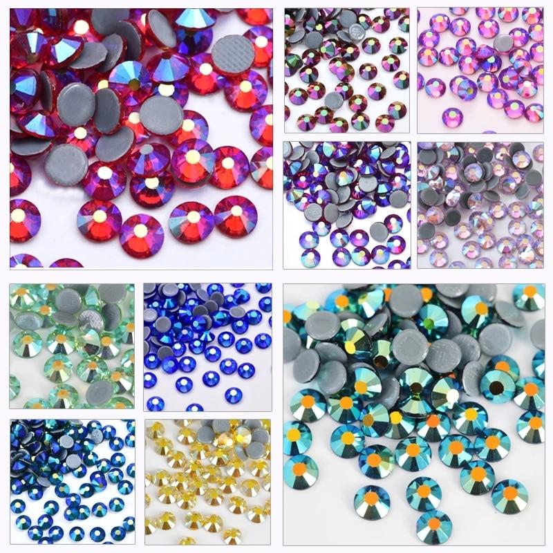 AB Farben SS6-SS30 Hohe Qualität Hot Fix Strass Kristall Super Glitter Strass Eisen Auf Strass für Stoff Bekleidungs F0104