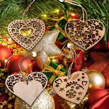 Suministros de decoración de Navidad colgantes de madera nórdico Vintage DIY amor corazón árbol de Navidad vitrina