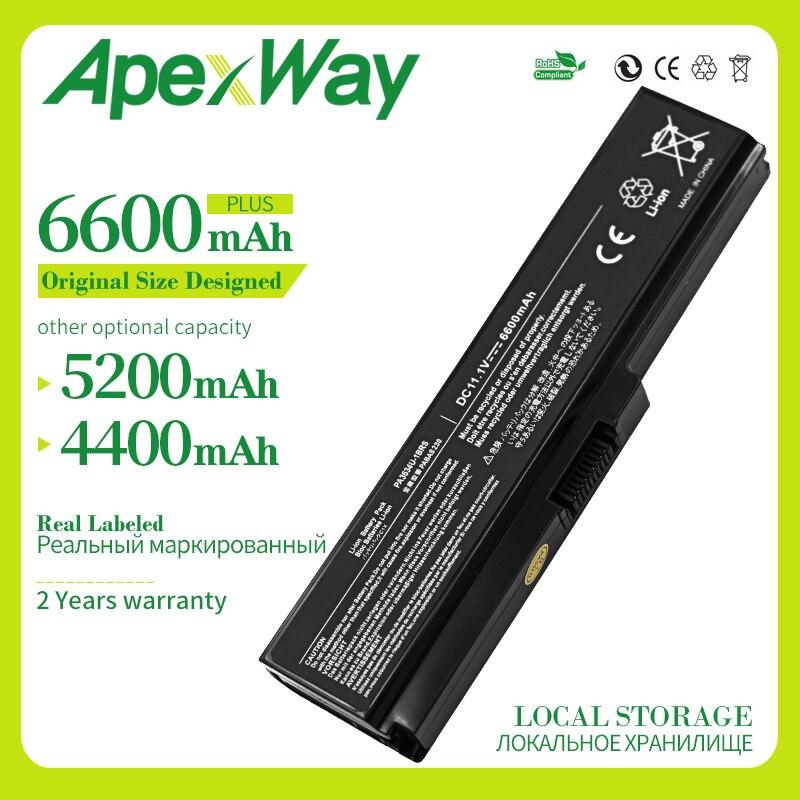Apexway PA3634U-1BAS  PA3634U-1BRS Laptop Battery For Toshiba Satellite A655D C640 C640D C645D C650 C650D C655 C655D C660 6 Cell