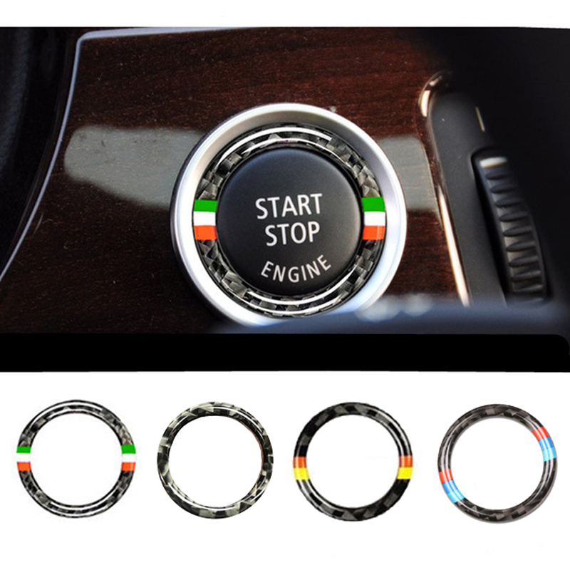 Carbon Fiber Car Engine Start Stop Key Ring Trim Sticker For BMW G01 F20 G30 F30 F31 E36 E39 E87 E60 E46 E91 X1 X3 X5 E53