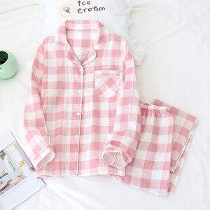 Image 4 - Tươi Kẻ Sọc 100% Gạc Cotton Người Yêu Pyjama Bộ Nam Nữ Thu Đông Dài Tay Nhật Bản Cổ Đồ Ngủ Nữ Pyjamas