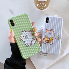 Cute Cartoon Cat Case For iPhone X XS Max XR Phone Cases Funny Patterned Silicone Soft TPU Cover 6 6s 7 8 Plus Covers