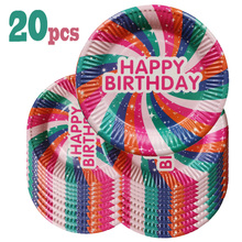 20pcs Birthday Party Plates Paper Cake Plates Disposable Cake Tray For Kids Birthday Party Decoration Wedding Tableware Supplies 6pc lot golden candle for wedding cake decoration pencil cake candle birthday party decoration kids adult party supplies