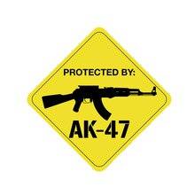 Grappige Beschermd Door AK-47 Gun Pvc Mode Zonnebrandcrème Waterdichte Auto Sticker Decal Cover Krassen Waterdichte Kk 14Cm * 14cm