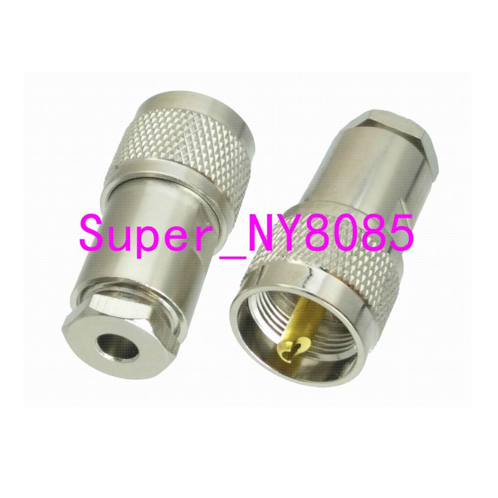 1pce Connector UHF PL259 Male Plug Clamp RG58 RG142 LMR195 RG400 Cable Straight