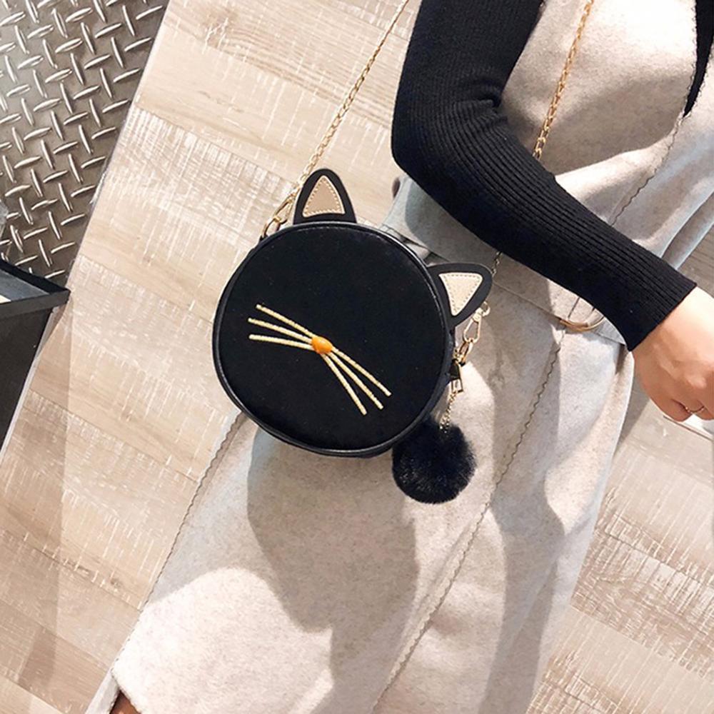 Velvet Women Mini Round Messenger Bag Cute Cat Chain Casual Shoulder Bags Female Mini Round Handbag Ladies Crossbody Bag Bolsas