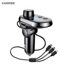 CANDYEIC Charge rapide voiture Multi chargeur rapide Bluetooth téléphone Fm transmetteur voiture Audio lecteur MP3 mains libres pour Samsung Huawei LG