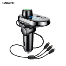 CANDYEIC Quick Charge Car Multi Fast Charger Bluetooth Phone Fm Transmitter Car Audio MP3 Player Handsfree for Samsung Huawei LG
