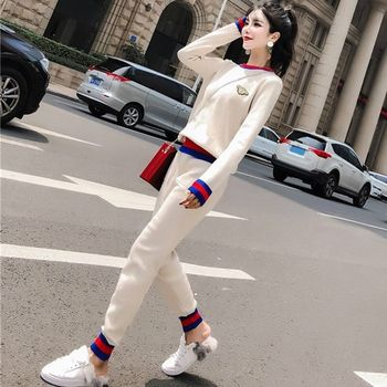 Suit women 2020 new autumn Korean loose sweater pants sports casual fashion two-piece set