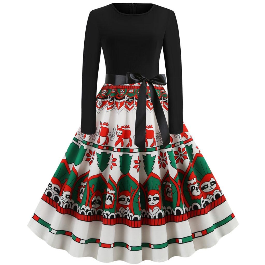 Christmas Printing Vintage Dress Women Long Sleeve Evening Party Dress Pleated Vestido Mujer Christmas Dresses Women