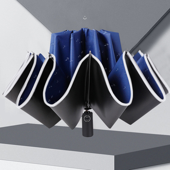 Automatic Umbrella Reverse Folding Business Umbrella With Reflective Strips Umbrellas Rain For Men Women Windproof Male Parasol