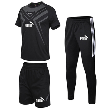 3 Pcs/Sets Sports T-Shirt Mens Suits Running Shrits+Sports Shorts+Jogging Pants Sportswear Suit Soccer Play Gym Sets New