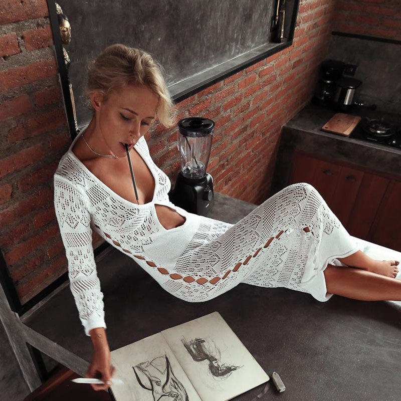 Crochet Knitted Tassel Beach Cover Up Bikini  Beachwear 2019 Swimsuit Cover Up Open Fork Knitting Beach Long Skirt Beach Dress