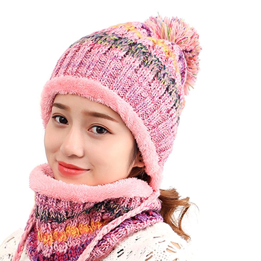 2Pcs Fashion Women Girls Pompoms Hat Woolen Yarn Knitted Scarf Cuffed Beanie Outdoor Scarf Hat Sets