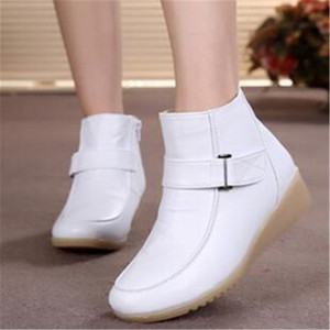 Winter Women Genuine Leather Ankle Boots Fashion Round Toe Side Ziper Ankle Strap Warm Boots For Women Nurse Work White Shoes 41(China)