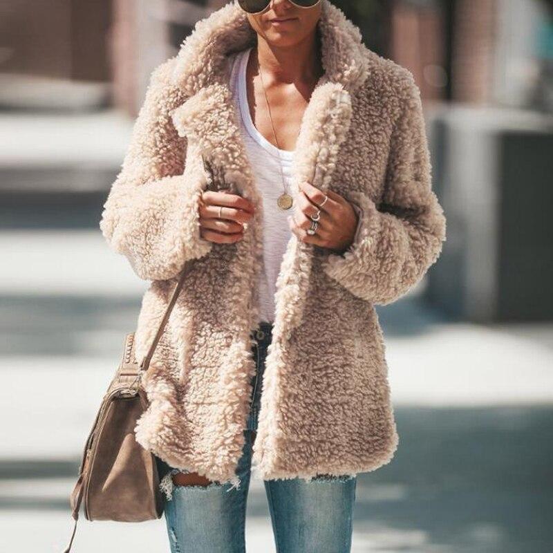 US $18.89 30% OFF Autumn Winter Faux Fur Teddy Bear Coat Jacket Women Fashion Open Stitch Warm Hooded Coat Female Long Sleeve Fuzzy Jacket Coat Faux