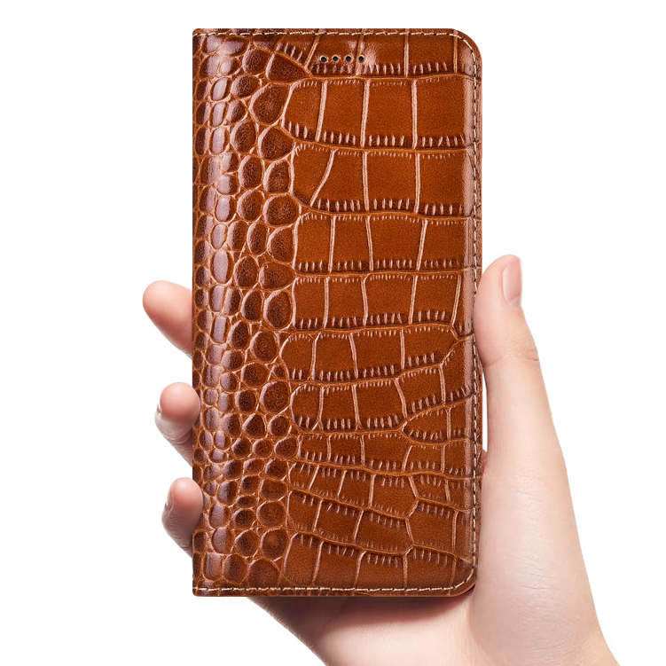 Crocodilo genuíno caso de couro da aleta para xiaomi redmi note 2 3 4 4x5 5a 6 6a 7 8 7a k20 pro go s2 plus capa de telefone celular carteira