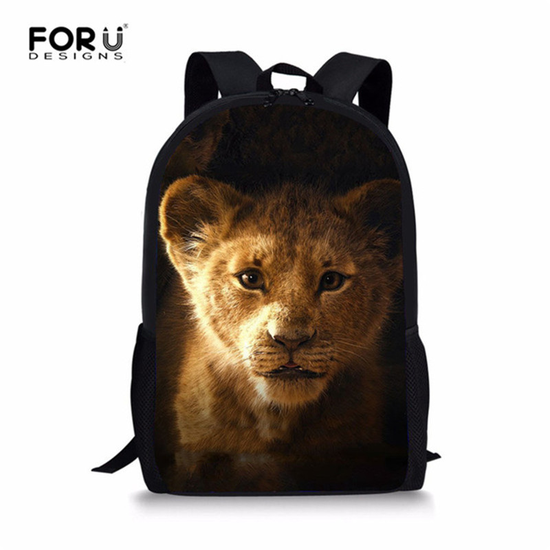 FORUDESIGN 3D Lion Animal Print School Backpack For Teenager Boys Girls 16 Inch BookBag Baby Kids Student Satchel Mochila 2019