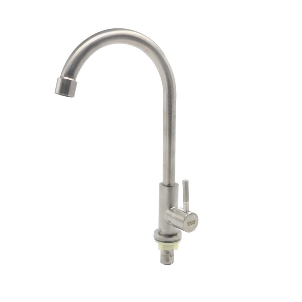 Basin Faucets Stainless Steel Bathroom Kitchen Faucet Rotate Single Handle Cold Water Basin Taps Crane