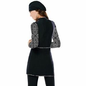 Image 2 - Traje de baño de cobertura total para mujer de Hao Fan, traje de baño islámico, trajes de baño modestos para la playa