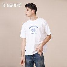 Simwood 2021 verão novo 100% algodão 250g de tecido grosso camiseta dos homens carta impressão solta queda ombro tshirt casual topos sk170161