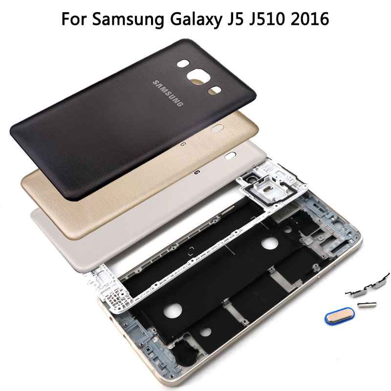 For Samsung Galaxy J5 J7 2016 J510 J710 Front Middle Frame Battery Back Cover+Side Button Camera Lens Glass Full Set Housing