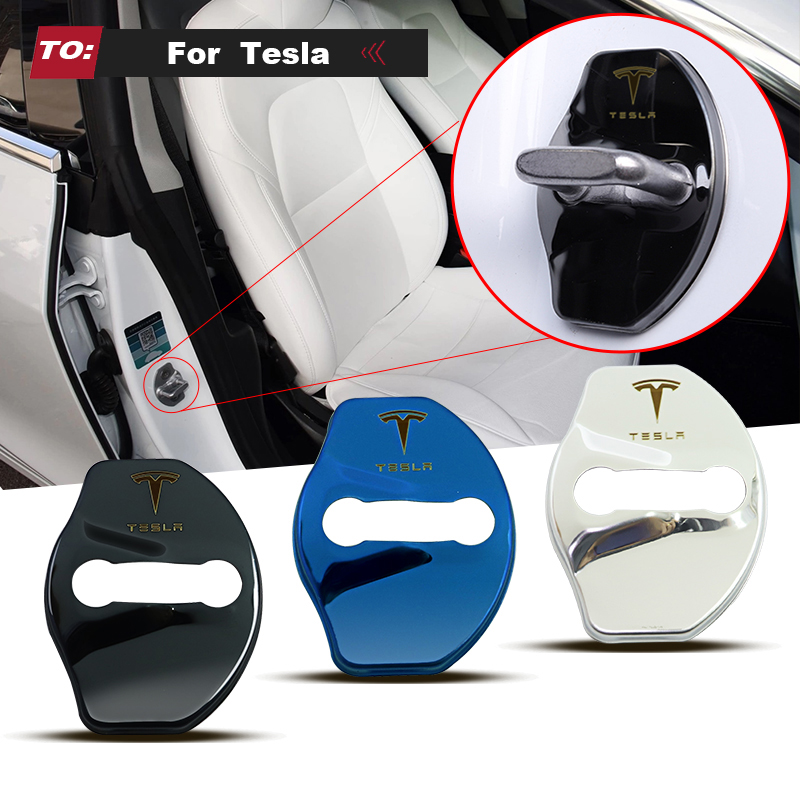 LQY 4pcs car sticker Door Lock Protective Cover high quality For Tesla model 3 model X Y style Roadster accessories