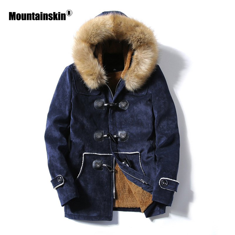 Moutainskin Winter Men Parka Coats Fleece Fur Warm Jackets Thermal Thick Male Casual Snow Coat Mens Brand Clothing SA854