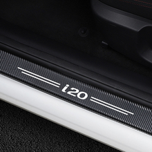 4 шт. Автомобильная дверная пластина Защита от потертостей двери шаг украшения наклейки для hyundai i20 углеродное волокно порога протектор Аксессуары