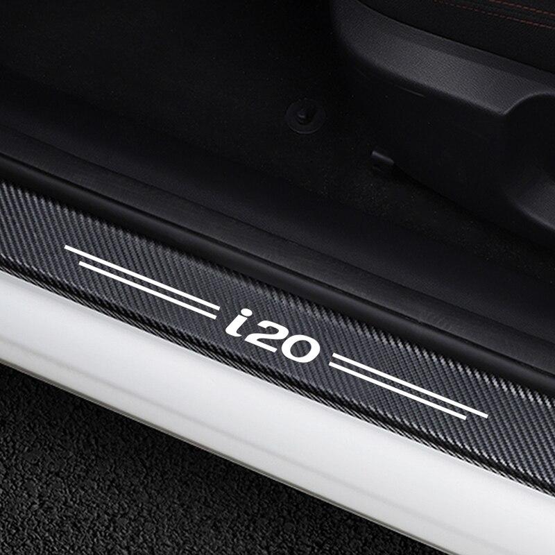 4 pçs porta do carro placa de proteção scuff porta passo decoração adesivos para hyundai i20 protetor peitoril da porta fibra carbono acessórios