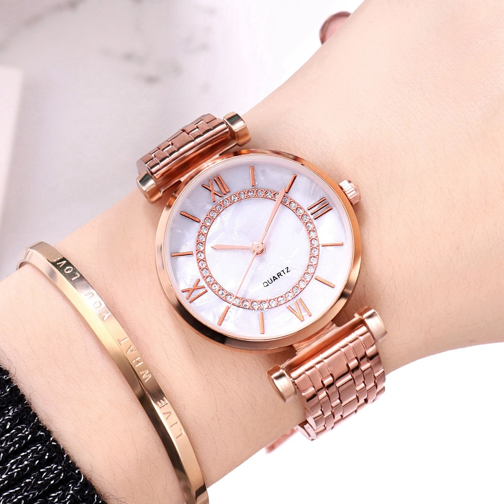 Simple Rose Gold Watches Women Crystal Stainless Steel Mesh Strap Fashion Casual Wild Quartz Bracelet Watch Relogio Feminino