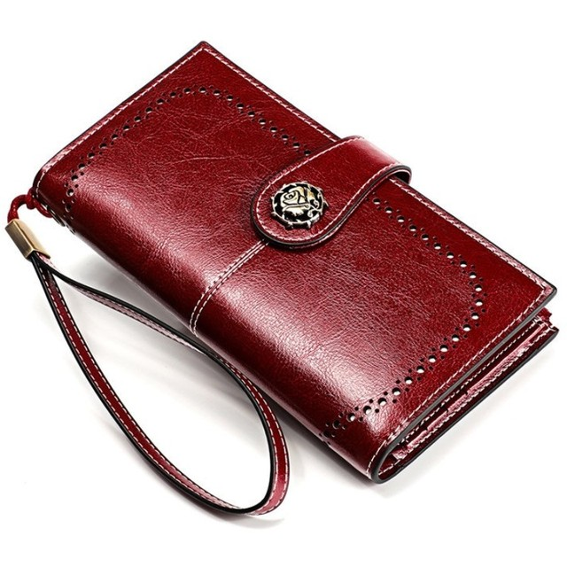 High Quality Cowide Leather Women Wallet Retro Natural Skin Long Zipper Coin Bag Carteira Feminina Big Capacity Purse For Women