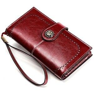 Image 1 - Yüksek kaliteli inek derisi deri kadın cüzdan Retro doğal cilt uzun fermuar sikke çanta Carteira Feminina büyük kapasiteli çanta kadınlar için