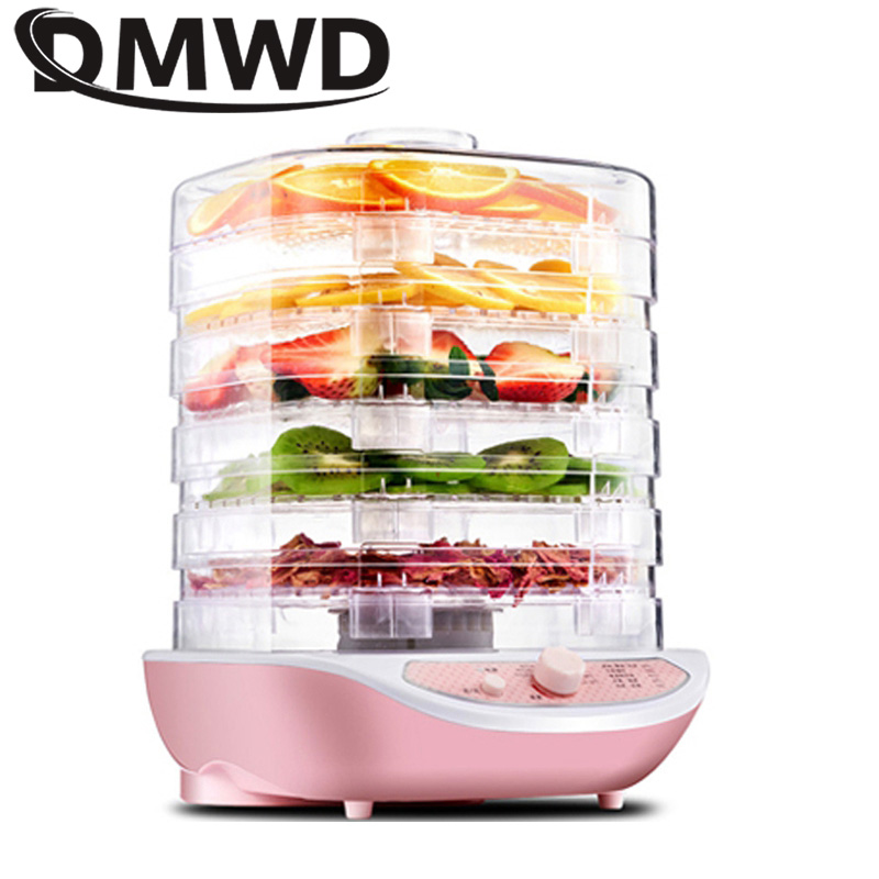 DWWD Dried Fruit Vegetables Herb Meat Machine Household MINI Food Dehydrator Pet Meat Dehydrated 5 Trays Snacks Air Dryer EU US