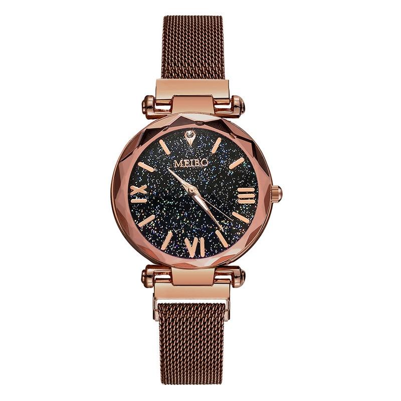 Hot Women Starry Sky Watch Key-2 Luxury Ladies Steel Quartz Watch