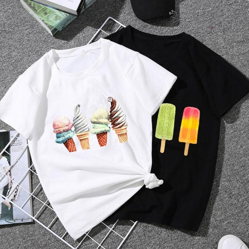 ZSIIBO/забавная футболка для мальчиков и девочек с круглым вырезом и принтом мороженого в стиле Харадзюку, Хлопковая женская футболка с короткими рукавами|Тройники| - AliExpress