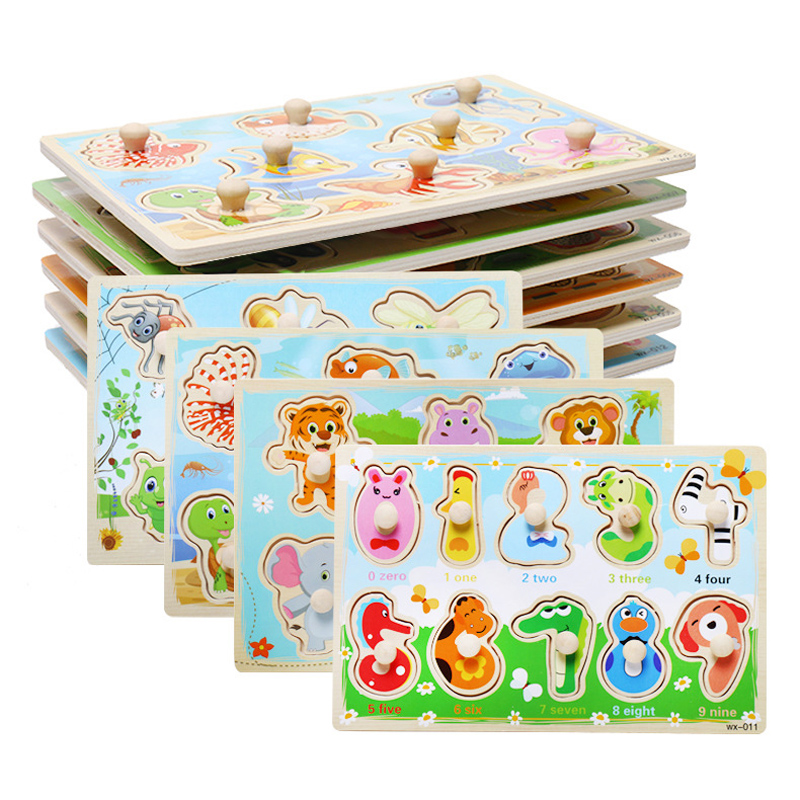 Baby Hand Grab Board Wooden Puzzle Toys Infant Early Educational Learning Toy Hand Grip Animal Fruit Vehicle Puzzle For Kids