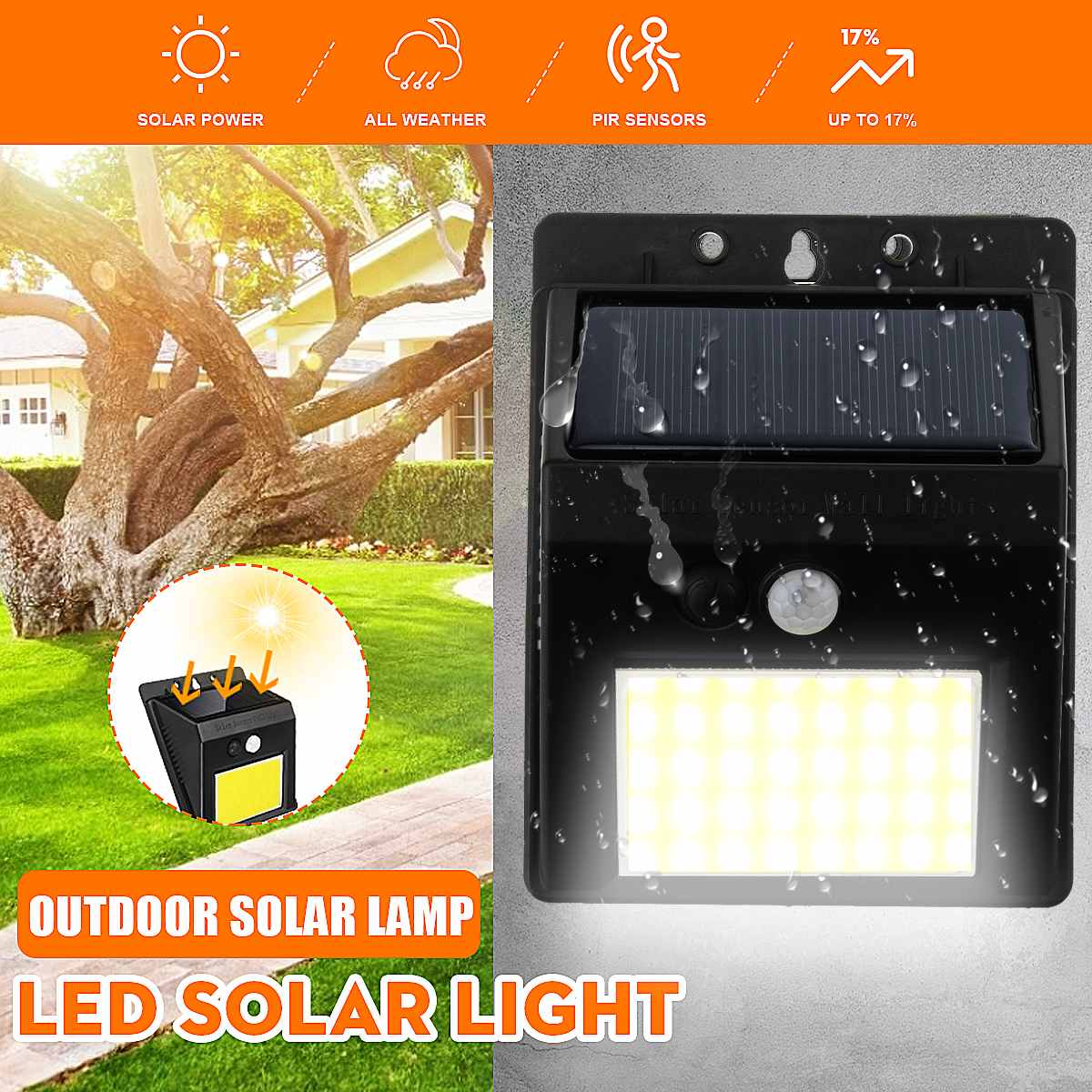 Solar Light Outdoor Solar Lamp 48/96 LED Powered Sunlight Waterproof PIR Motion Sensor Street Light For Garden Decoration