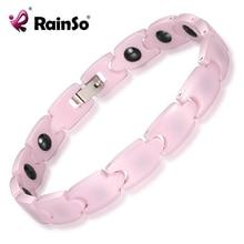RainSo Pink Charm Bracelets for Girl Hematite Magnetic Ceramic Bracelet for Women 2019 Hot Sale Fashion Female Hologram Jewelry